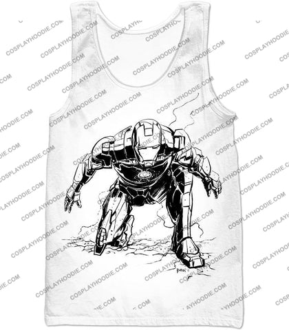 Image of Cool Iron Man Pencil Sketch White Action T-Shirt Im017 Tank Top / Us Xxs (Asian Xs)