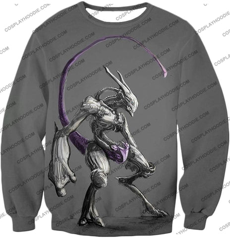 Image of Pokemon Extremely Powerful Psychic Mewto Cool Grey T-Shirt Pkm017 Sweatshirt / Us Xxs (Asian Xs)