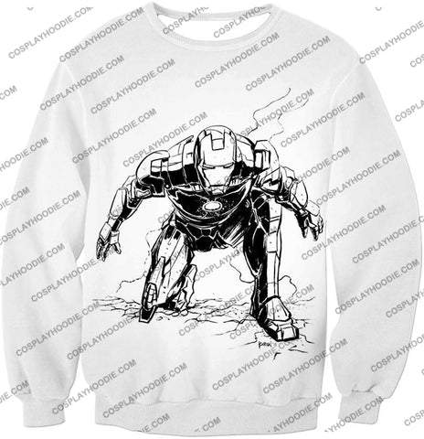 Image of Cool Iron Man Pencil Sketch White Action T-Shirt Im017 Sweatshirt / Us Xxs (Asian Xs)