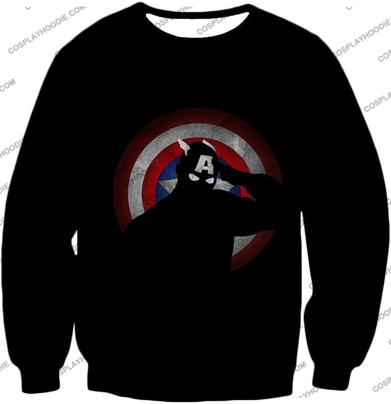 American Comic Hero Captain America Silhouette Promo Black T-Shirt Ca017 Sweatshirt / Us Xxs (Asian
