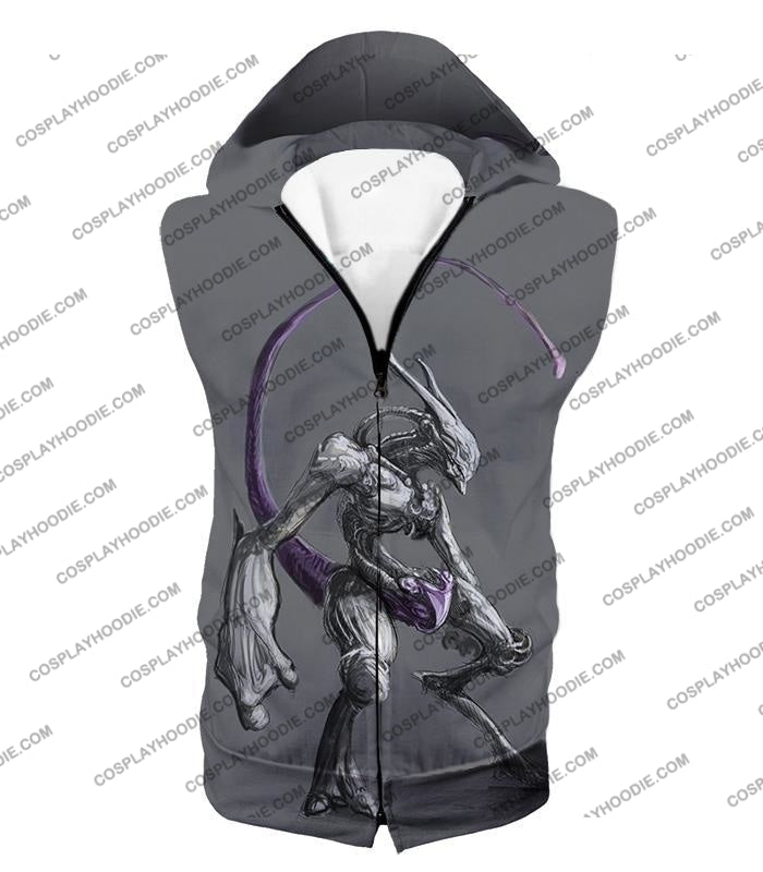 Pokemon Extremely Powerful Psychic Mewto Cool Grey T-Shirt Pkm017 Hooded Tank Top / Us Xxs (Asian