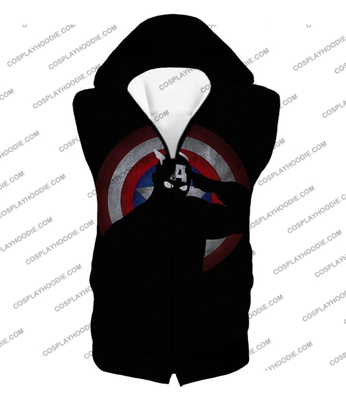 American Comic Hero Captain America Silhouette Promo Black T-Shirt Ca017 Hooded Tank Top / Us Xxs