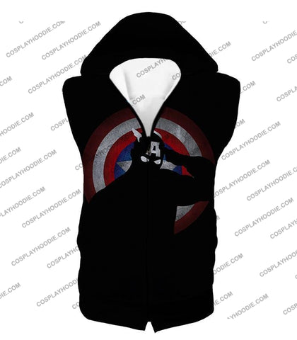 Image of American Comic Hero Captain America Silhouette Promo Black T-Shirt Ca017 Hooded Tank Top / Us Xxs