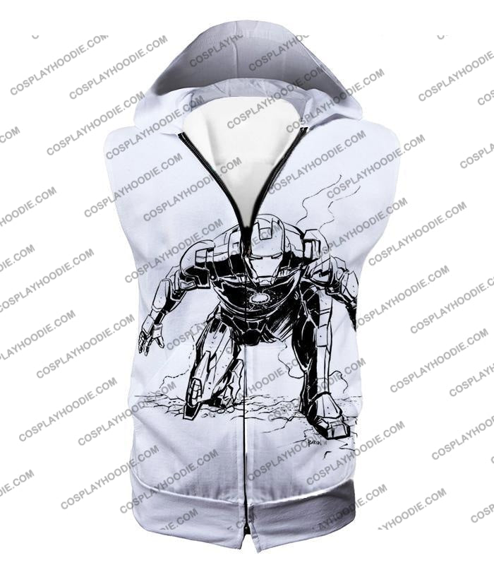 Cool Iron Man Pencil Sketch White Action T-Shirt Im017 Hooded Tank Top / Us Xxs (Asian Xs)
