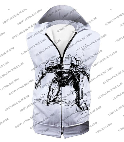 Image of Cool Iron Man Pencil Sketch White Action T-Shirt Im017 Hooded Tank Top / Us Xxs (Asian Xs)