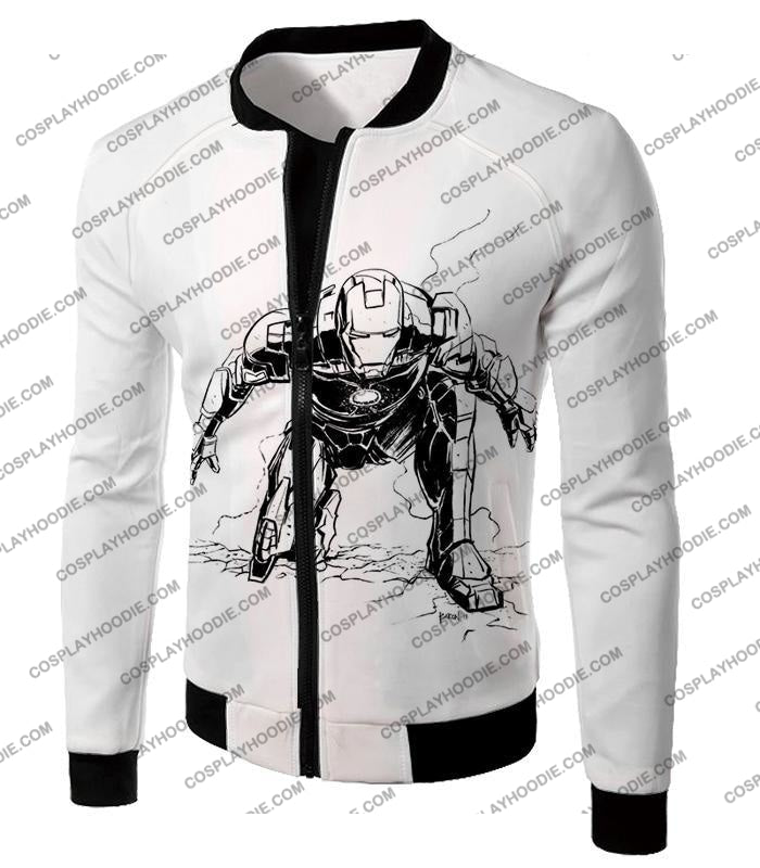 Cool Iron Man Pencil Sketch White Action T-Shirt Im017 Jacket / Us Xxs (Asian Xs)