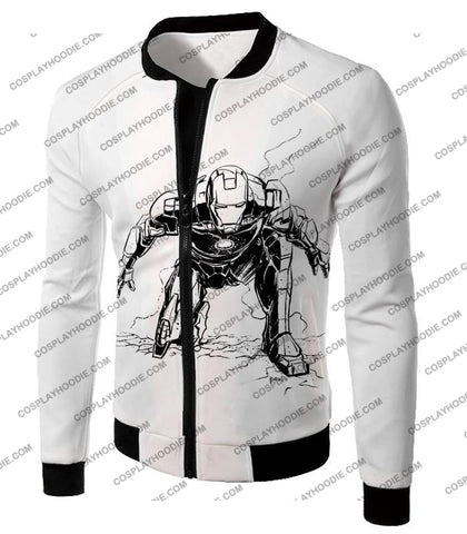Image of Cool Iron Man Pencil Sketch White Action T-Shirt Im017 Jacket / Us Xxs (Asian Xs)