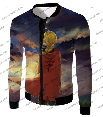Image of Fullmetal Alchemist Best State Edward Elrich Awesome Anime Art T-Shirt Fa017 Jacket / Us Xxs (Asian