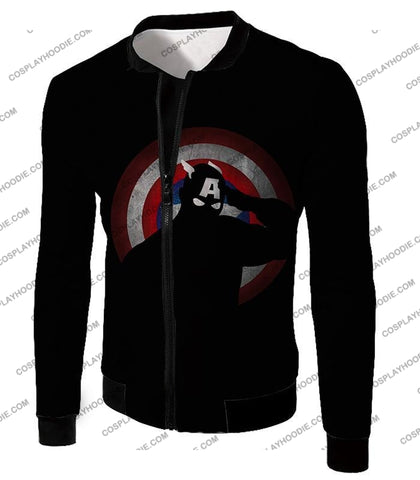 Image of American Comic Hero Captain America Silhouette Promo Black T-Shirt Ca017 Jacket / Us Xxs (Asian Xs)