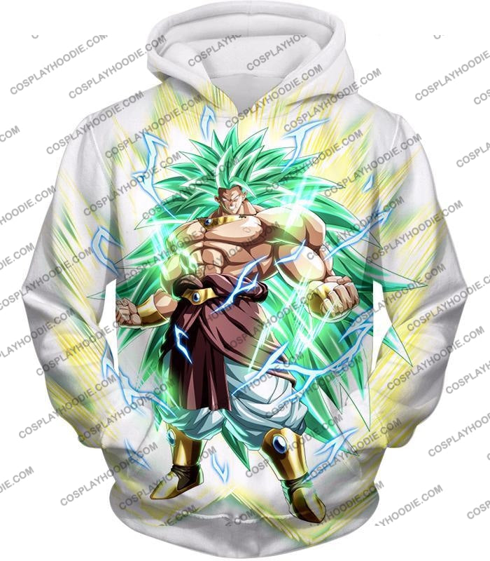 Dragon Ball Super Rising Power Legendary Saiyan 3 Broly Cool Action White T-Shirt Dbs170 Hoodie / Us