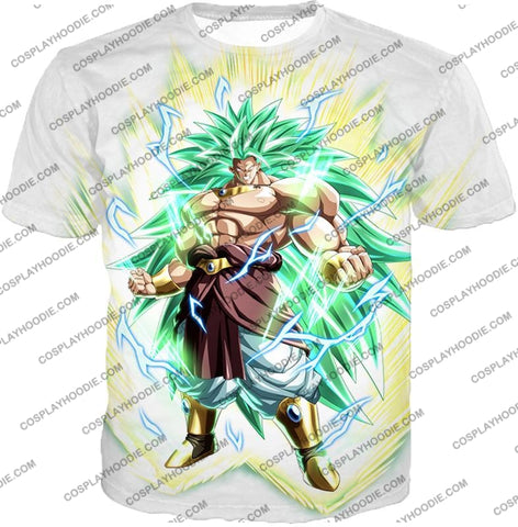 Image of Dragon Ball Super Rising Power Legendary Saiyan 3 Broly Cool Action White T-Shirt Dbs170 / Us Xxs