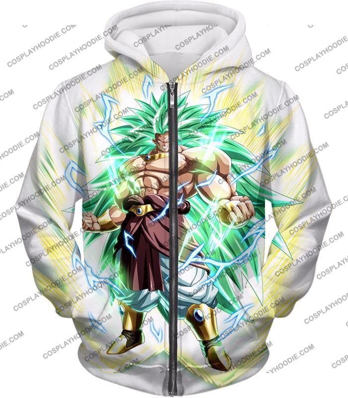 Dragon Ball Super Rising Power Legendary Saiyan 3 Broly Cool Action White T-Shirt Dbs170 Zip Up
