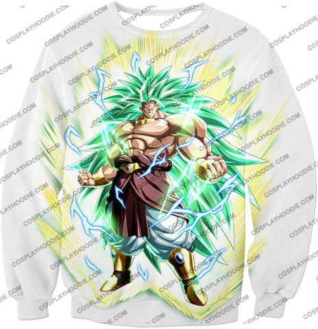 Image of Dragon Ball Super Rising Power Legendary Saiyan 3 Broly Cool Action White T-Shirt Dbs170 Sweatshirt