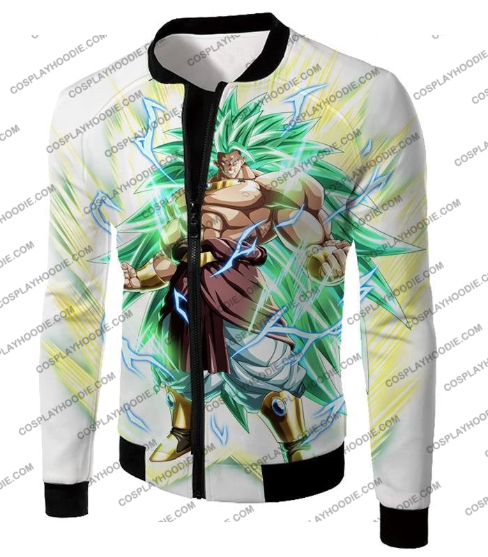 Dragon Ball Super Rising Power Legendary Saiyan 3 Broly Cool Action White T-Shirt Dbs170 Jacket / Us