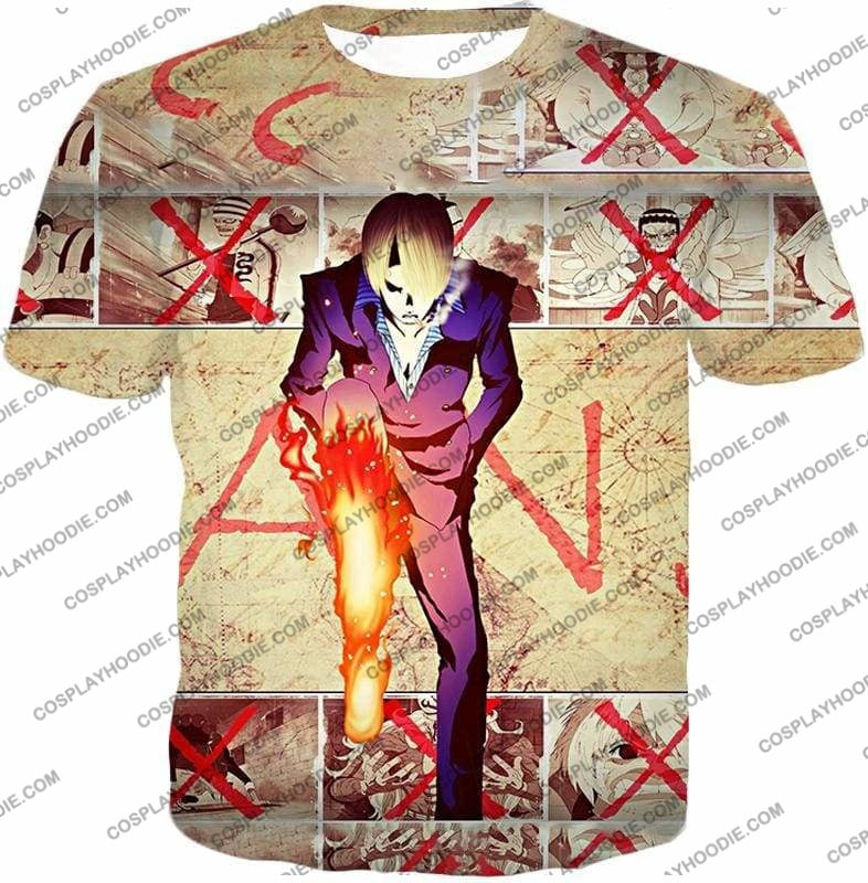 One Piece Strong Straw Hat Pirate Vinsmoke Sanji Action Promo T-Shirt Op175 - T-Shirt / Us Xxs (Asian Xs) - T-Shirt