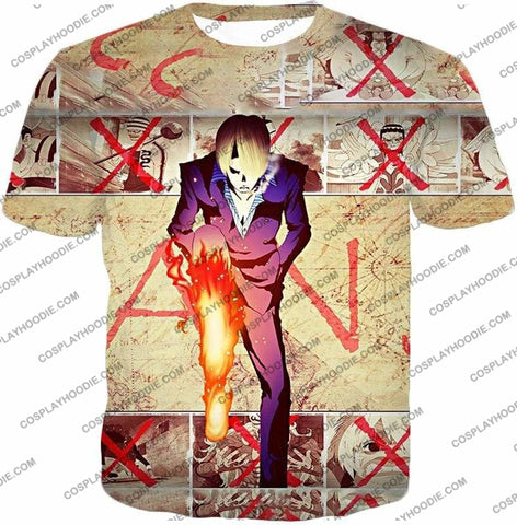 Image of One Piece Strong Straw Hat Pirate Vinsmoke Sanji Action Promo T-Shirt Op175 - T-Shirt / Us Xxs (Asian Xs) - T-Shirt