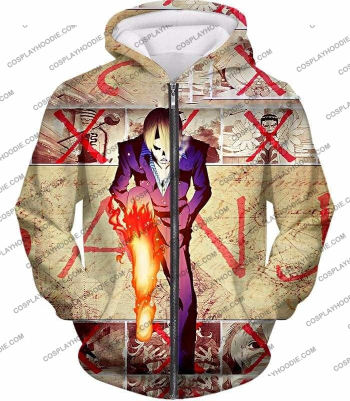 One Piece Strong Straw Hat Pirate Vinsmoke Sanji Action Promo T-Shirt Op175 - Zip Up Hoodie / Us Xxs (Asian Xs) - T-Shirt