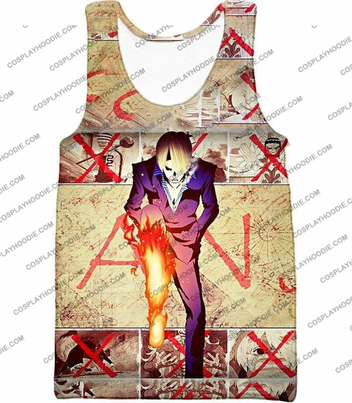One Piece Strong Straw Hat Pirate Vinsmoke Sanji Action Promo T-Shirt Op175 - Tank Top / Us Xxs (Asian Xs) - T-Shirt