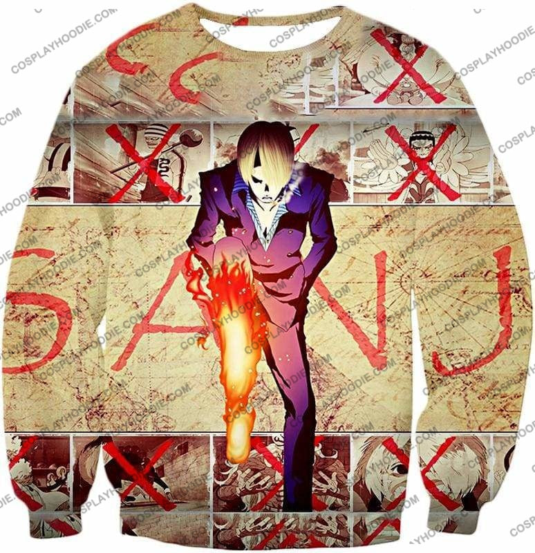 One Piece Strong Straw Hat Pirate Vinsmoke Sanji Action Promo T-Shirt Op175 - Sweatshirt / Us Xxs (Asian Xs) - T-Shirt