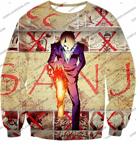 Image of One Piece Strong Straw Hat Pirate Vinsmoke Sanji Action Promo T-Shirt Op175 - Sweatshirt / Us Xxs (Asian Xs) - T-Shirt