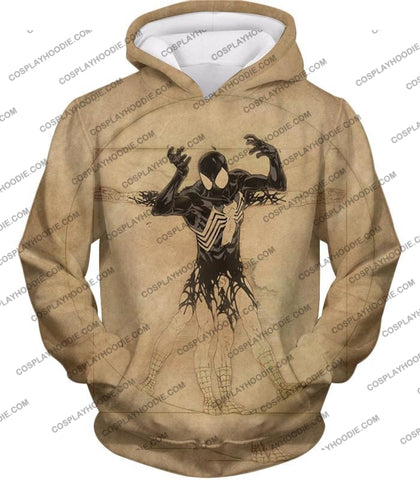 Image of Spiderman Symbiote Bond Cool Brown T-Shirt Sp018 Hoodie / Us Xxs (Asian Xs)