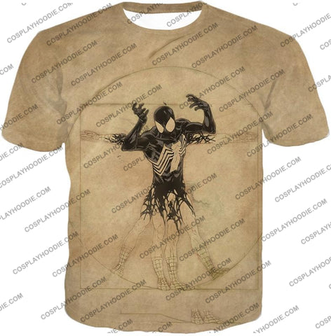 Image of Spiderman Symbiote Bond Cool Brown T-Shirt Sp018 / Us Xxs (Asian Xs)