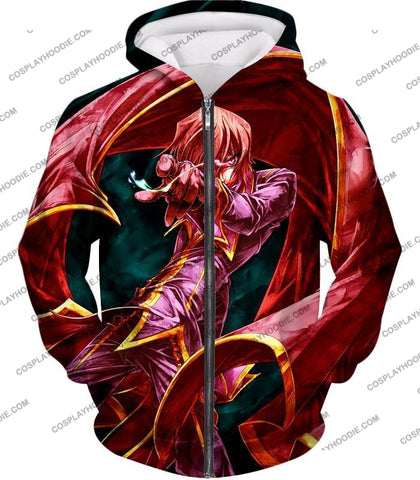 Image of The Black Prince Lelouch Vi Britannia Awesome Anime Action T-Shirt Cg018 Zip Up Hoodie / Us Xxs