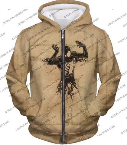 Image of Spiderman Symbiote Bond Cool Brown T-Shirt Sp018 Zip Up Hoodie / Us Xxs (Asian Xs)