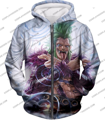 Image of One Piece Cool Super Rookie Bartolomeo Barrier Devil Fruit Action T-Shirt Op018 Zip Up Hoodie / Us