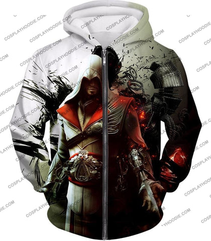 Image of Awesome Assassin Ezio Firenze Super Cool Graphic Promo T-Shirt Ac018 Zip Up Hoodie / Us Xxs (Asian