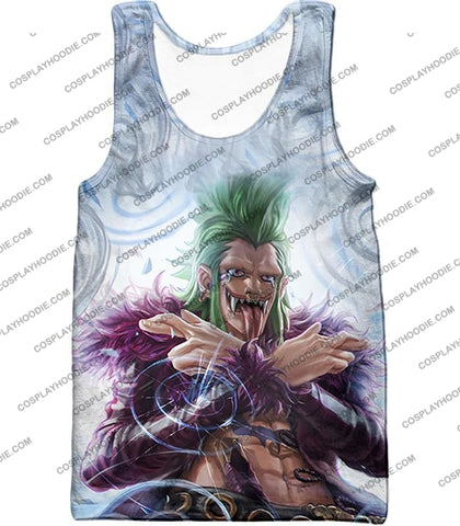 Image of One Piece Cool Super Rookie Bartolomeo Barrier Devil Fruit Action T-Shirt Op018 Tank Top / Us Xxs