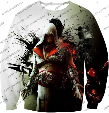 Image of Awesome Assassin Ezio Firenze Super Cool Graphic Promo T-Shirt Ac018 Sweatshirt / Us Xxs (Asian Xs)
