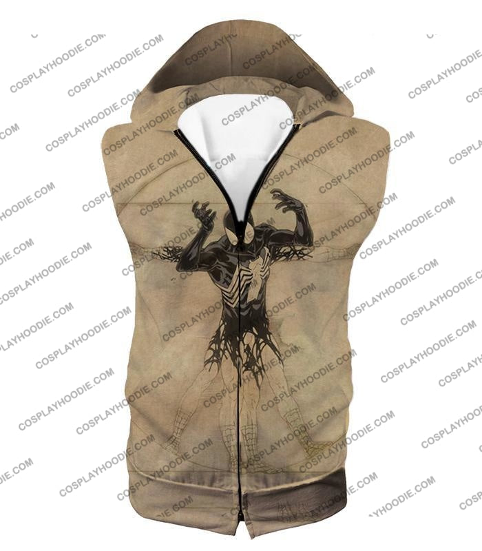 Spiderman Symbiote Bond Cool Brown T-Shirt Sp018 Hooded Tank Top / Us Xxs (Asian Xs)