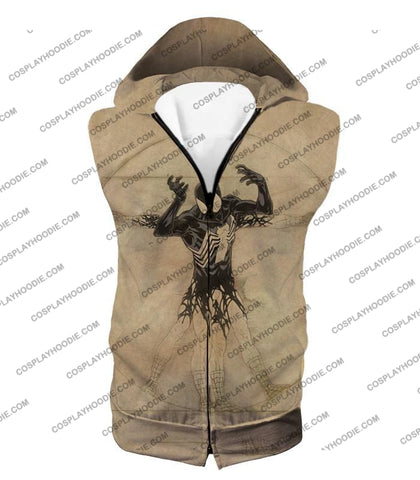 Image of Spiderman Symbiote Bond Cool Brown T-Shirt Sp018 Hooded Tank Top / Us Xxs (Asian Xs)