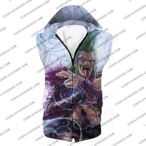 Image of One Piece Cool Super Rookie Bartolomeo Barrier Devil Fruit Action T-Shirt Op018 Hooded Tank Top / Us