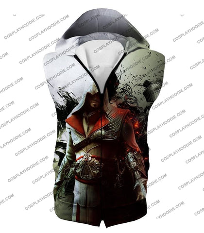 Image of Awesome Assassin Ezio Firenze Super Cool Graphic Promo T-Shirt Ac018 Hooded Tank Top / Us Xxs (Asian