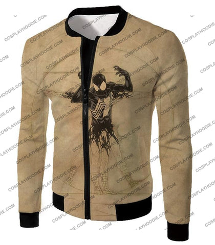 Image of Spiderman Symbiote Bond Cool Brown T-Shirt Sp018 Jacket / Us Xxs (Asian Xs)