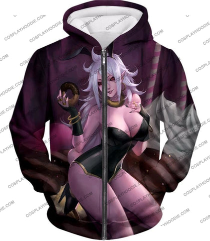 Image of Dragon Ball Super Cool Evil Android 21 Amazingly Cute Anime Promo T-Shirt Dbs180 Zip Up Hoodie / Us