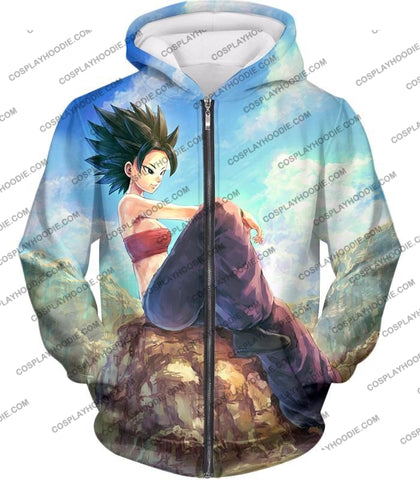 Image of Dragon Ball Super Cool Female Universe 6 Saiyan Caulifla Awesome T-Shirt Dbs188 Zip Up Hoodie / Us