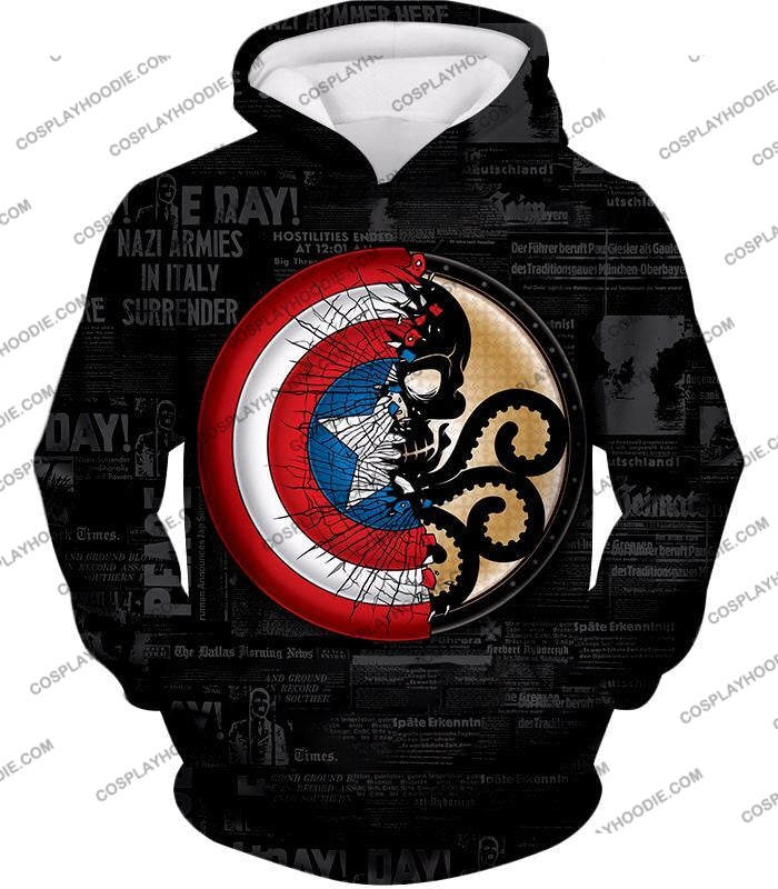 Amazing Captain America Vs Hydra Promo Black T-Shirt Ca019 Hoodie / Us Xxs (Asian Xs)