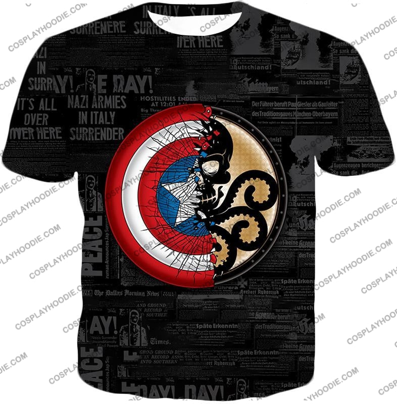 Amazing Captain America Vs Hydra Promo Black T-Shirt Ca019 / Us Xxs (Asian Xs)