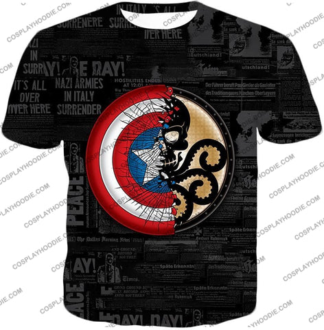 Image of Amazing Captain America Vs Hydra Promo Black T-Shirt Ca019 / Us Xxs (Asian Xs)