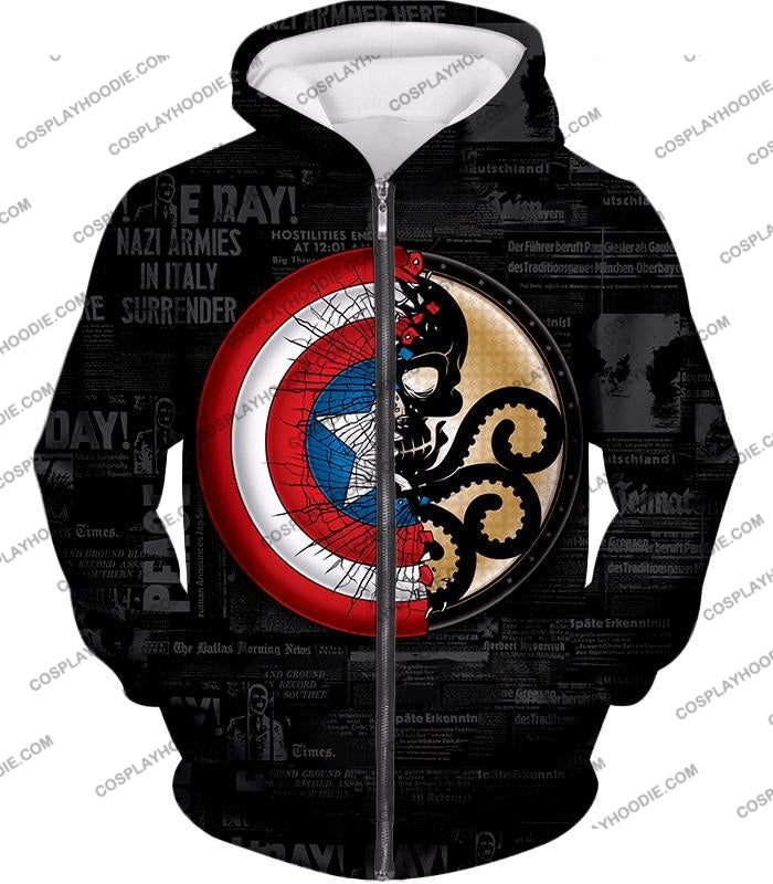 Amazing Captain America Vs Hydra Promo Black T-Shirt Ca019 Zip Up Hoodie / Us Xxs (Asian Xs)