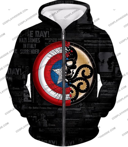 Image of Amazing Captain America Vs Hydra Promo Black T-Shirt Ca019 Zip Up Hoodie / Us Xxs (Asian Xs)