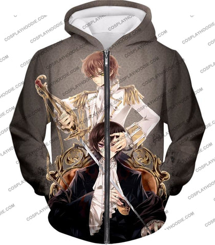 Image of Bonded By Friendship Lelouch X Suzaku Amazing Anime Promo Grey T-Shirt Cg019 Zip Up Hoodie / Us Xxs