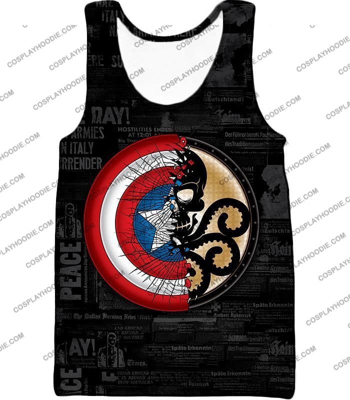 Amazing Captain America Vs Hydra Promo Black T-Shirt Ca019 Tank Top / Us Xxs (Asian Xs)