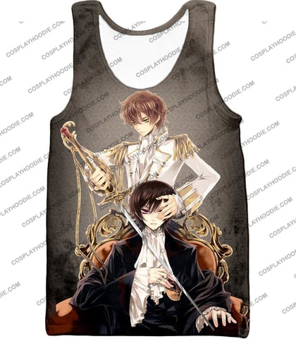 Image of Bonded By Friendship Lelouch X Suzaku Amazing Anime Promo Grey T-Shirt Cg019 Tank Top / Us Xxs