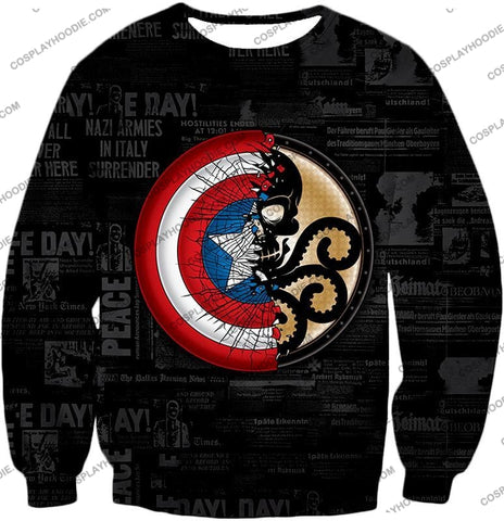 Image of Amazing Captain America Vs Hydra Promo Black T-Shirt Ca019 Sweatshirt / Us Xxs (Asian Xs)