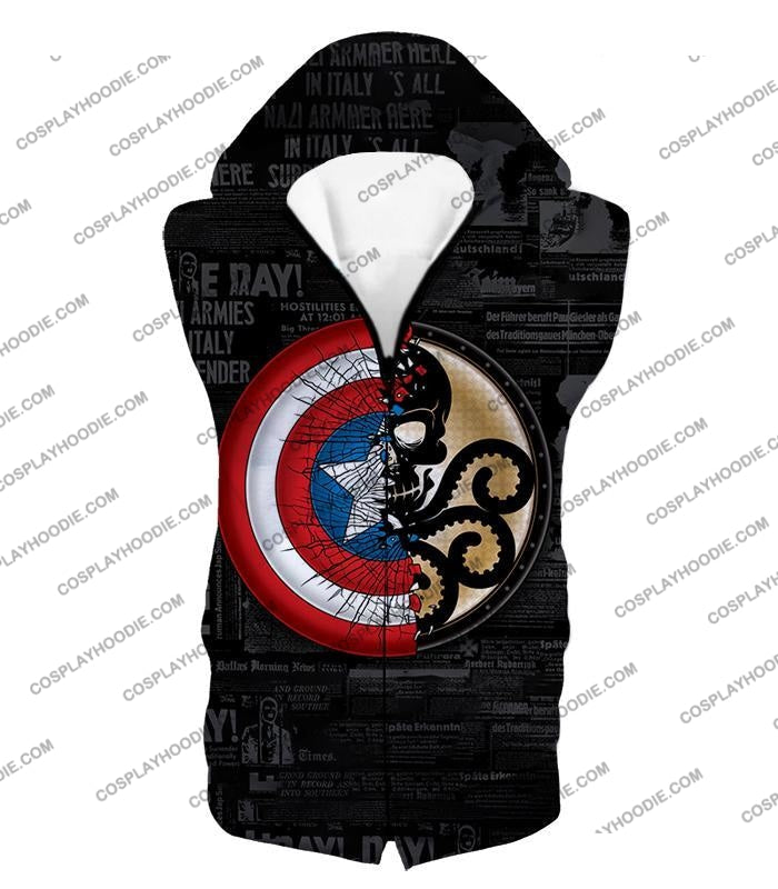 Amazing Captain America Vs Hydra Promo Black T-Shirt Ca019 Hooded Tank Top / Us Xxs (Asian Xs)