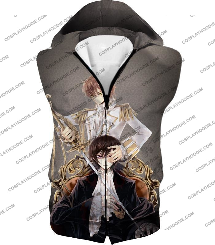 Bonded By Friendship Lelouch X Suzaku Amazing Anime Promo Grey T-Shirt Cg019 Hooded Tank Top / Us